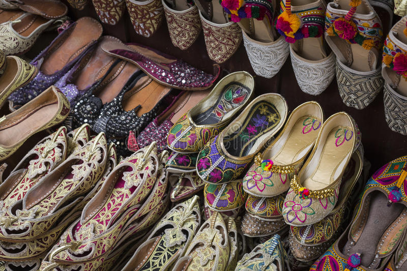 Shoes in arabian style, market of Dubai stock image
