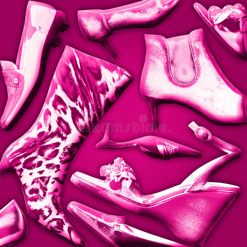 Shoes background. Various womens fashion shoe styles royalty free illustration