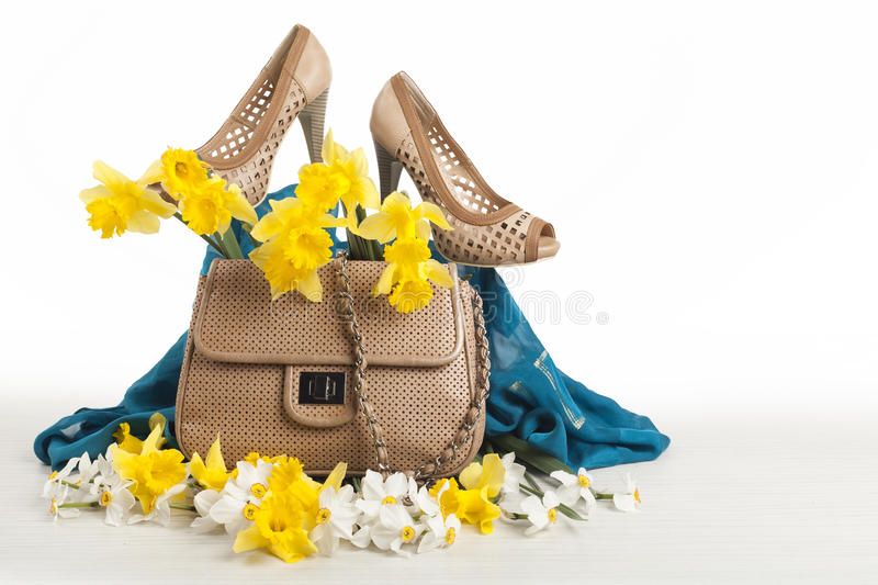 Shoes and bag stock images