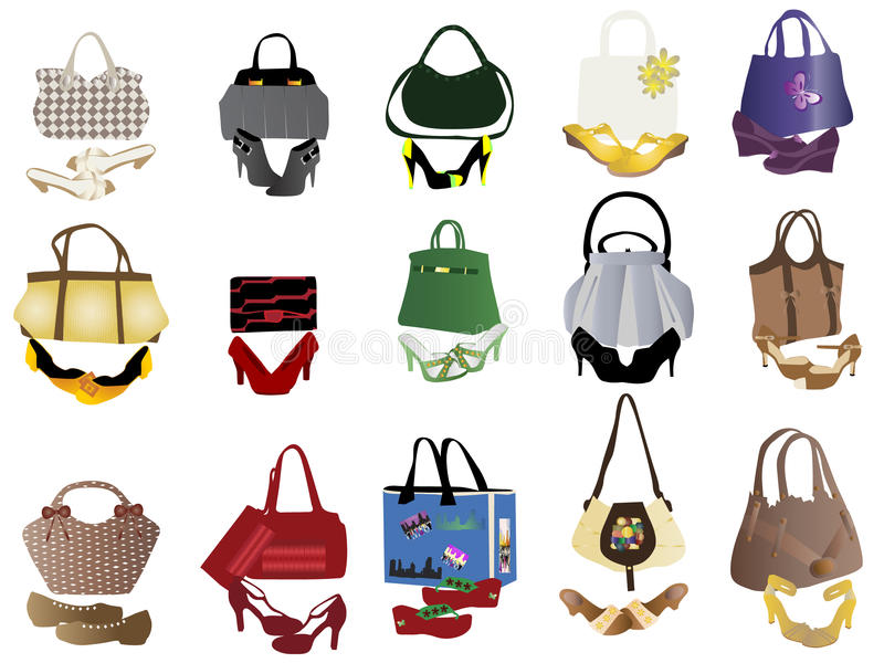 Shoes and bags for women vector illustration