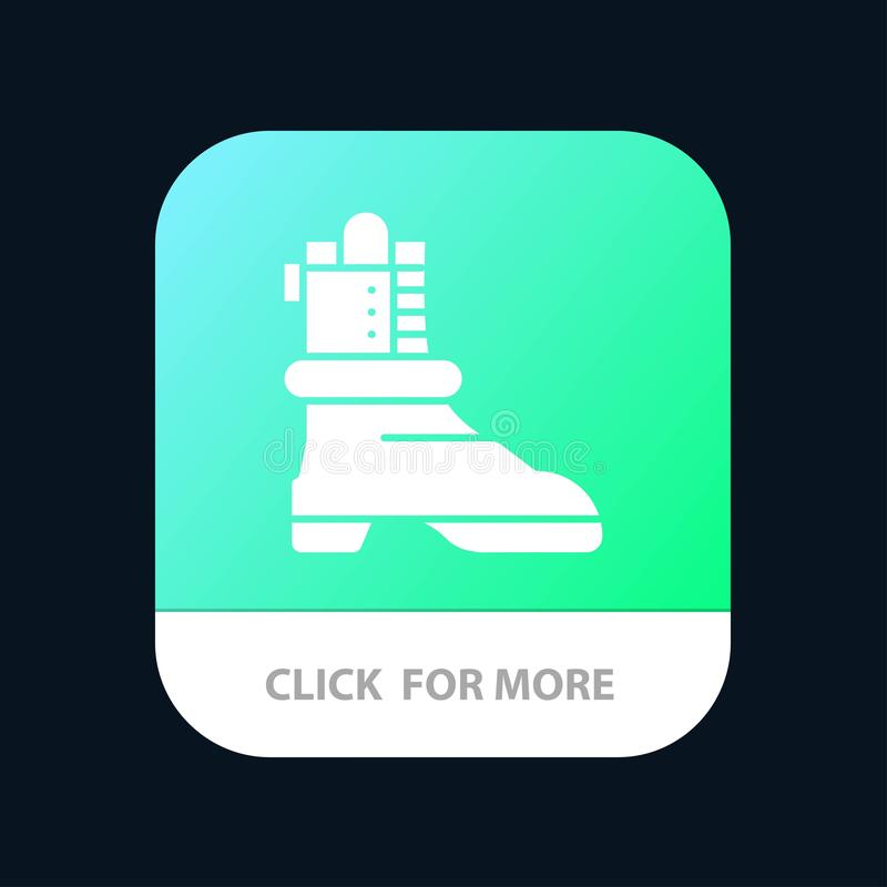 Shoes, Boot, American Mobile App Button. Android and IOS Glyph Version royalty free illustration