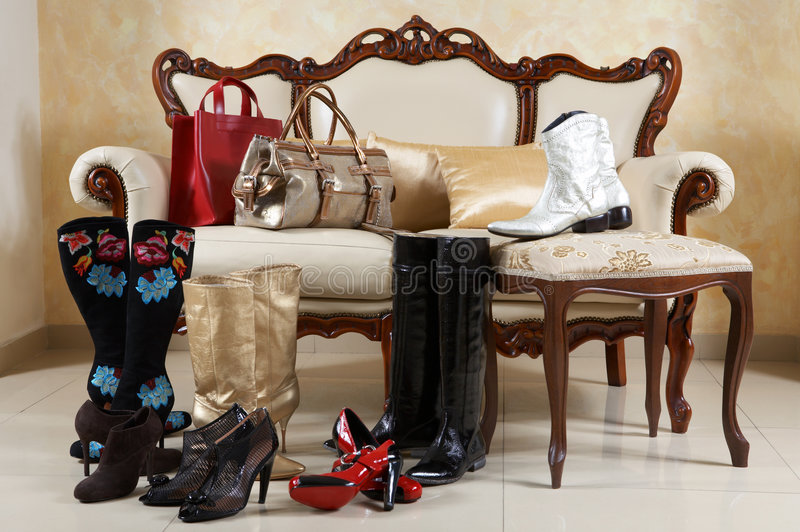 Shoes, boots and handbags royalty free stock image