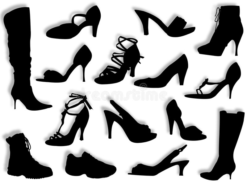 Download Shoes And Boots Silhouettes Stock Illustration - Image: 9063873