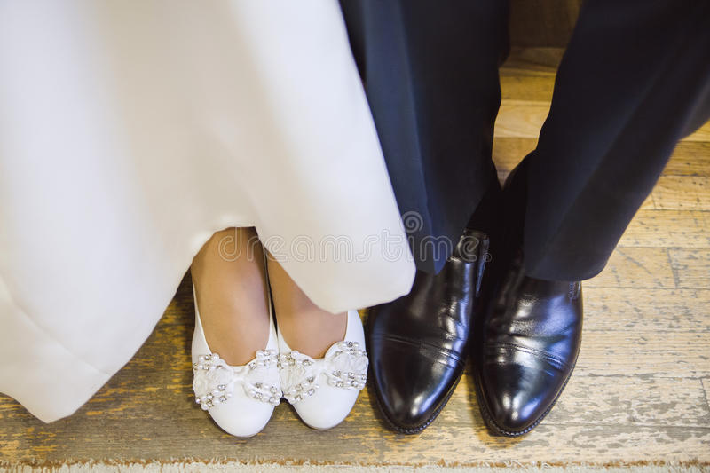 Shoes bride and groom stock images