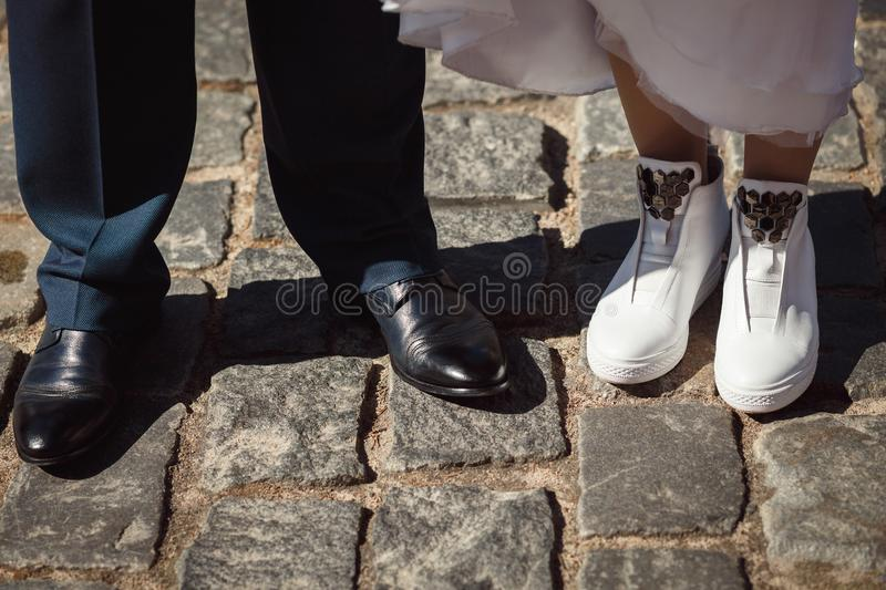 Shoes bride and groom royalty free stock photo