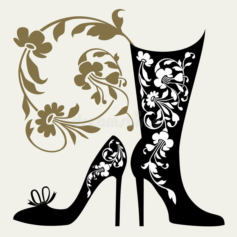 Download Shoes collection stock vector. Image of boutique, silhouette - 20188348