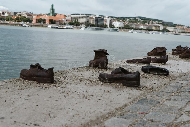 Shoes on the Danube Bank a memorial in honor to the Jews killed by fascist Arrow Cross militiamen in Budapest during World War II stock photo