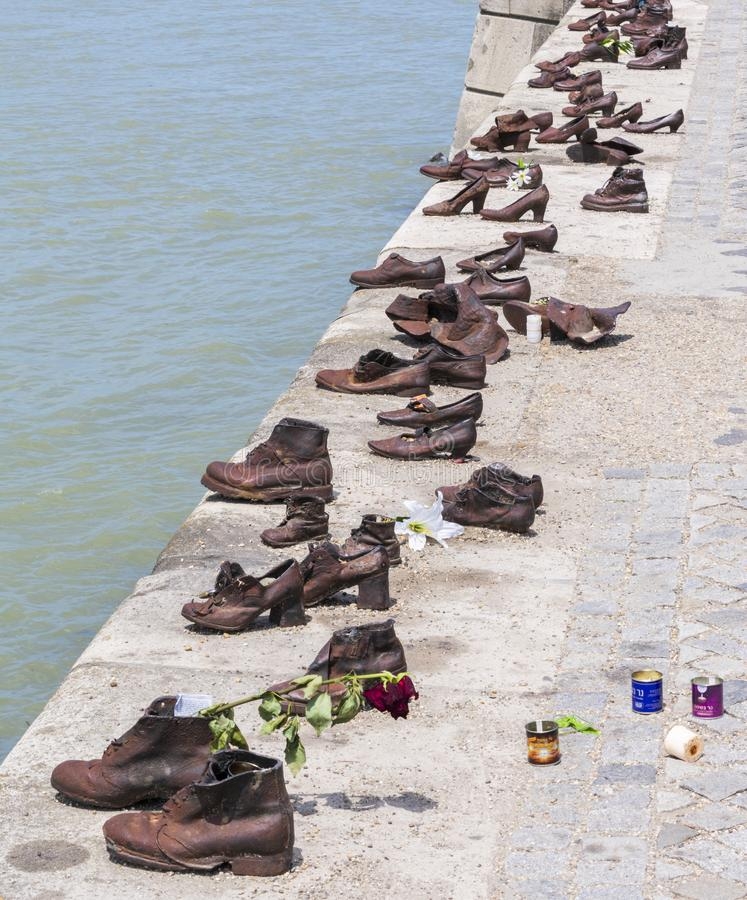 Shoes on the Danube Bank, memorial to Jews stock images