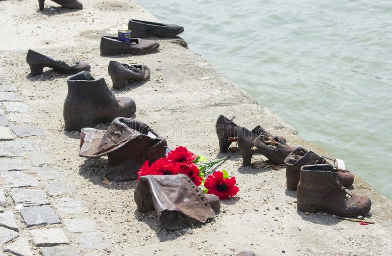 Shoes on the Danube Bank, memorial to Jews stock image