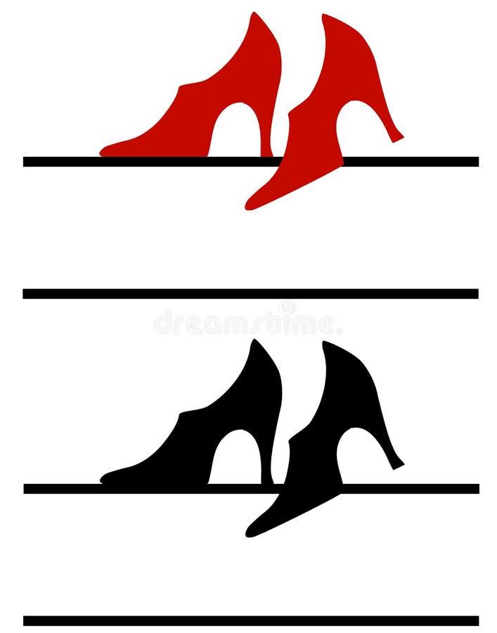 shoes den höga logoen för hälet rengöringsduk stock illustrationer