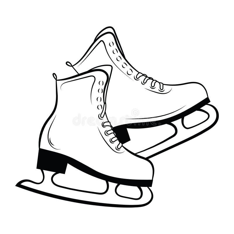 Shoes for figure skating. Black white illustration of ice skates. Winter sport. Linear art. Tattoo. stock illustration