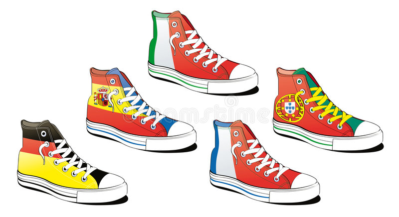 Shoes with flag stock illustration
