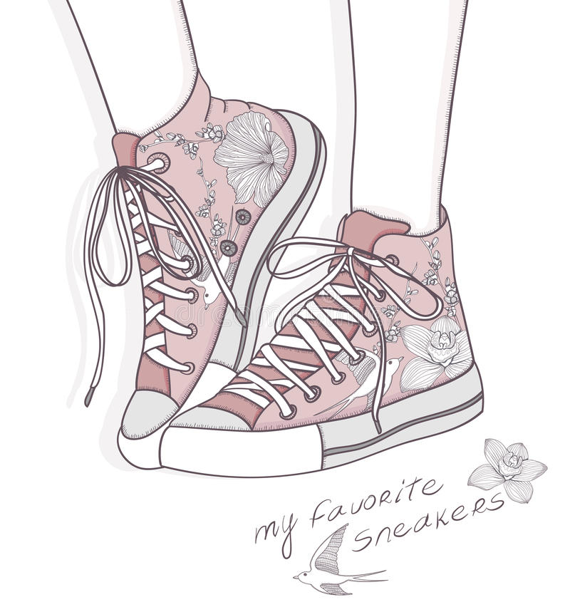 Shoes with floral pattern. Sneakers background. Shoes with floral pattern. Background with fashionable sneakers. Cute birthday card or invitation vector illustration