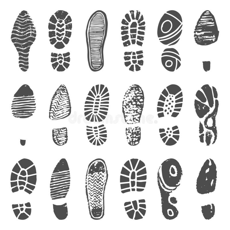 Shoes footprint silhouette. Sneaker shoes step, walking boot shoe steps imprint and man feet boots isolated vector vector illustration