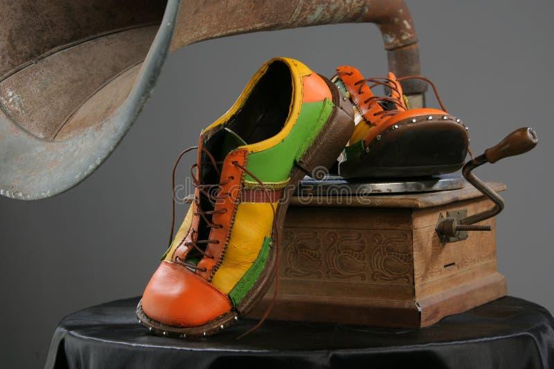 Shoes and grammofon royalty free stock photo