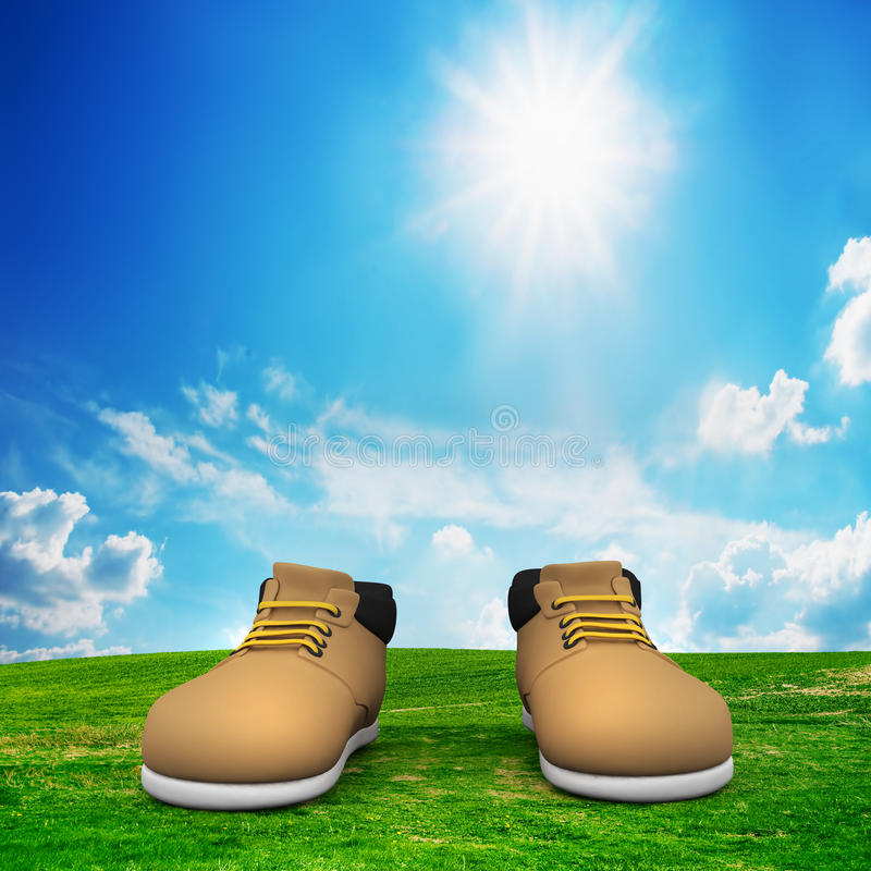 Download Shoes On Green Field. Adventure Stock Photography - Image: 24202662