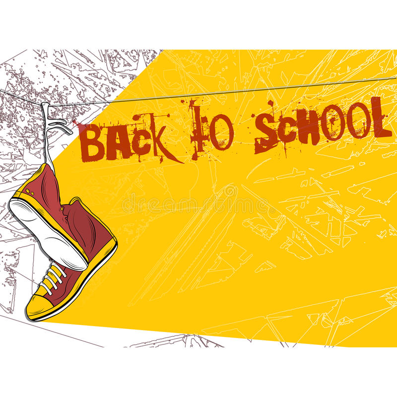 Free Shoes Hanging On Wire Background. Back To School Stock Images - 40190374
