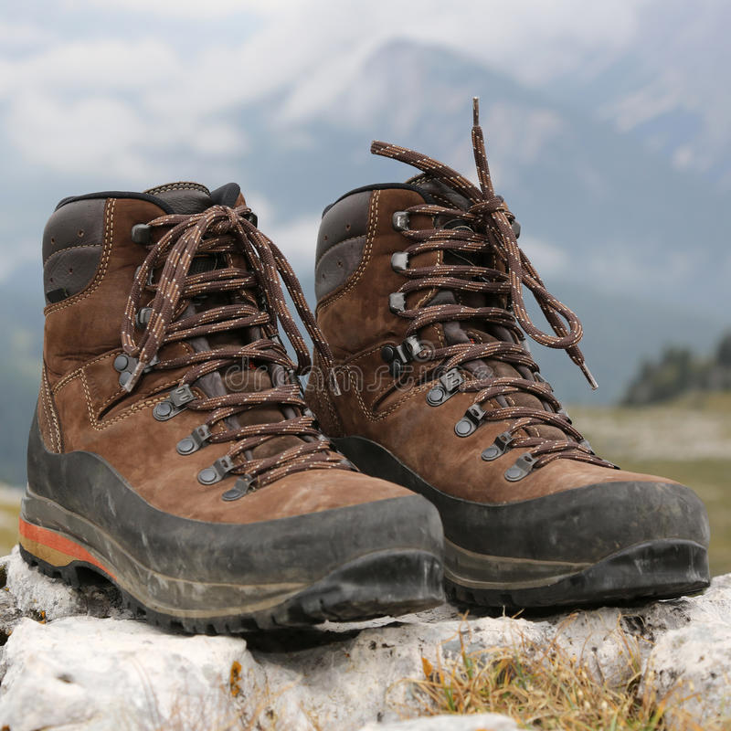 Shoes for hiking in the mountains stock photos