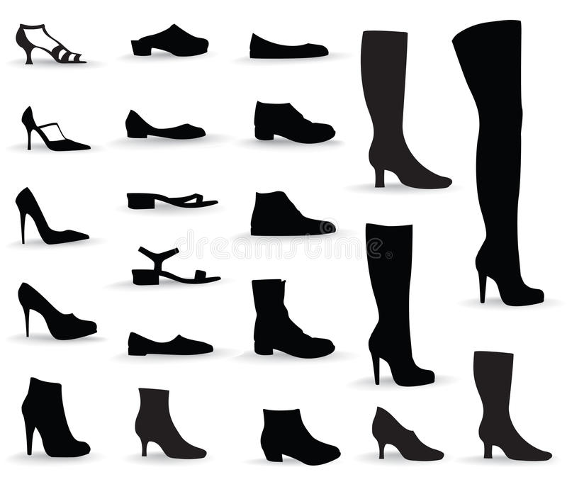 Shoes icon set. Silhouettes collection. vector illustration