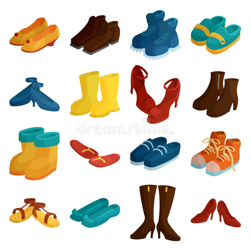 Shoes icons set, cartoon style vector illustration