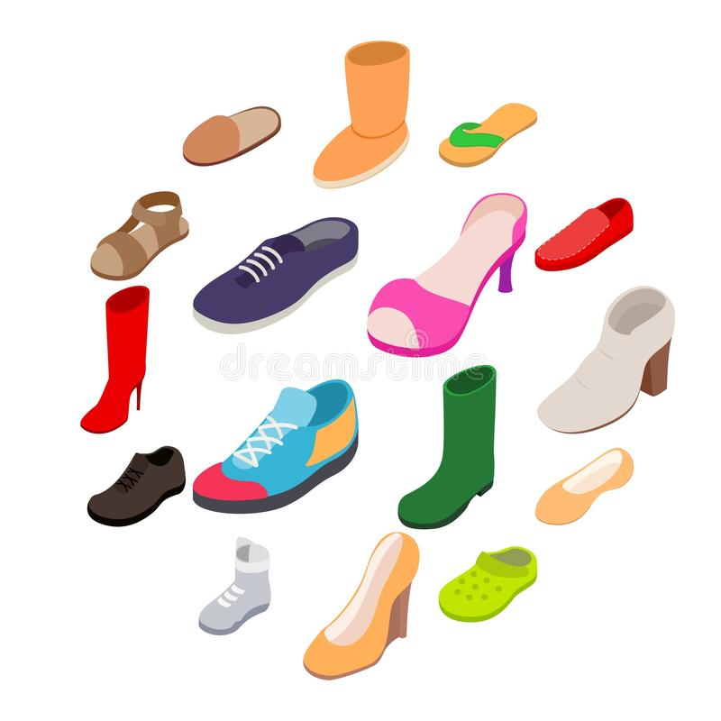 Shoes icons set, isometric 3d style stock photography