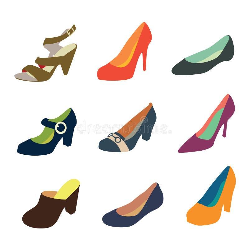 shoes kvinnor stock illustrationer