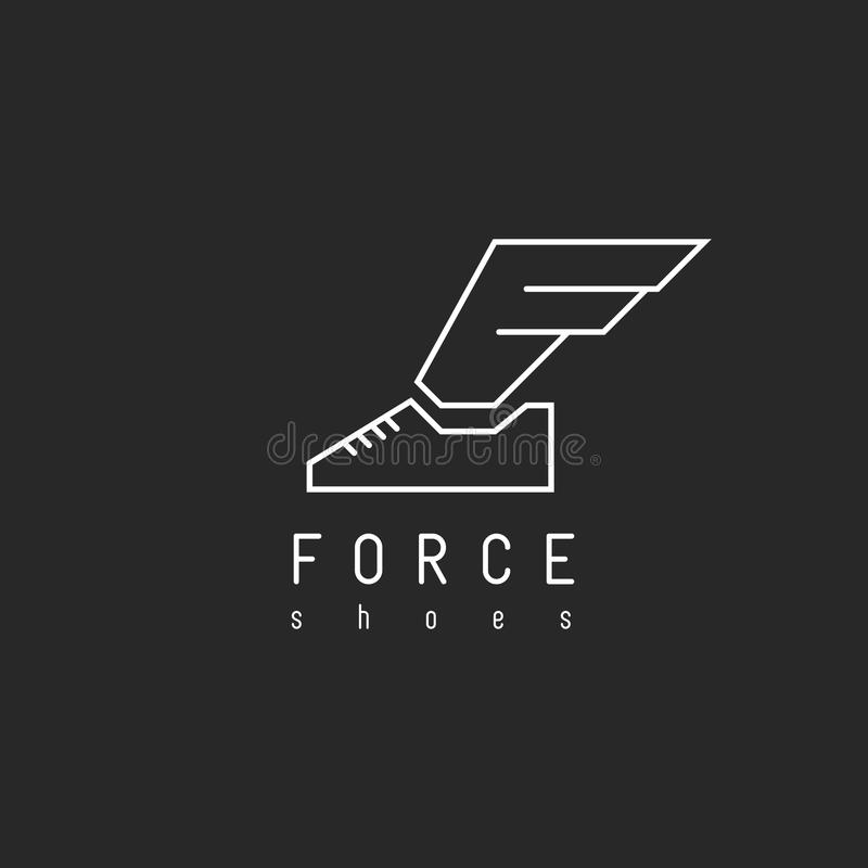 Shoes logo with wing in view letter F, mockup emblem winged sneaker royalty free illustration