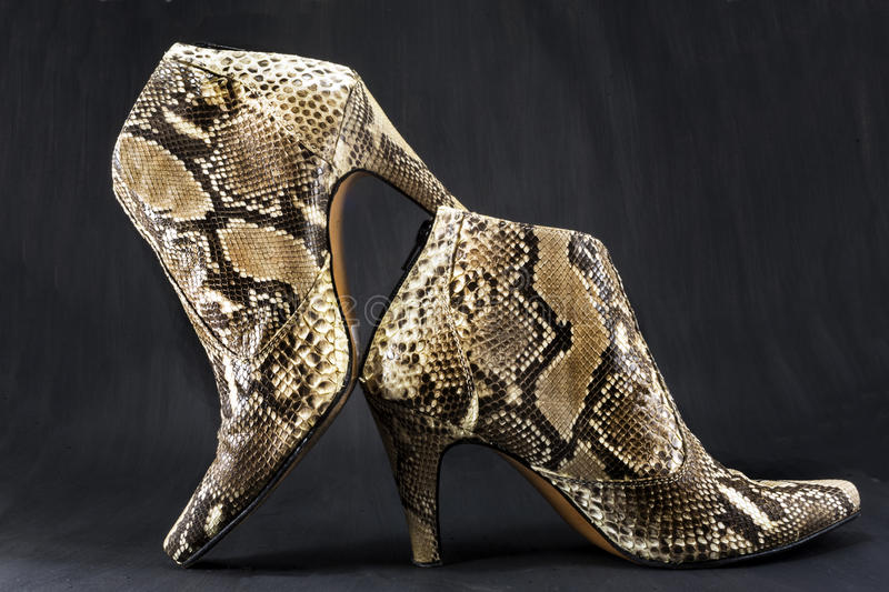 Shoes made of snake skin stock image