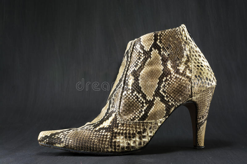 Shoes made of snake skin stock photography