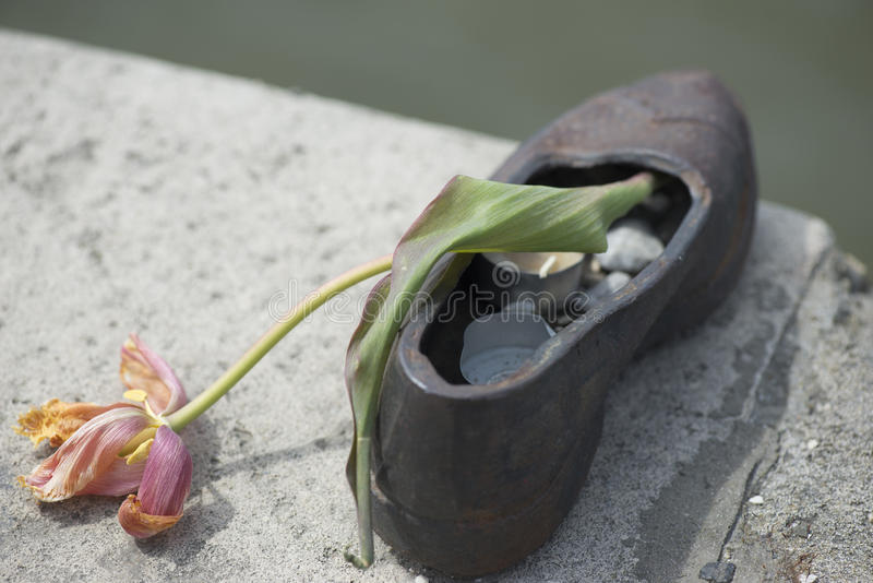 Shoes memorial - Danube promenade, Budapest royalty free stock images