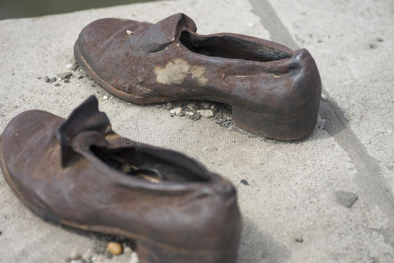 Shoes memorial - Danube promenade, Budapest stock photos