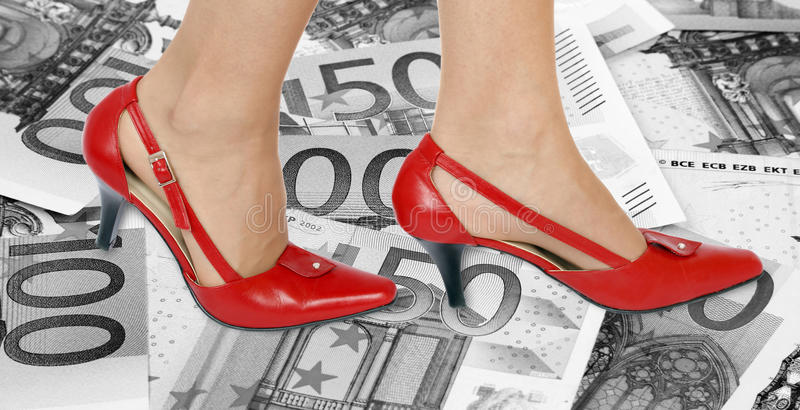 Shoes and money background royalty free stock photos