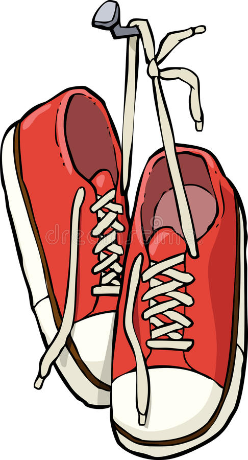 Shoes on a nail. Cartoon shoes on a nail illustration vector illustration
