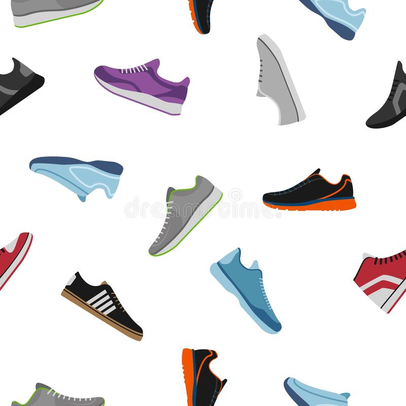 Shoes pattern on white background. Sportwear sneakers, everyday footwear clothing in flat style. High and low keds. Footwear for sport and casual look vector vector illustration