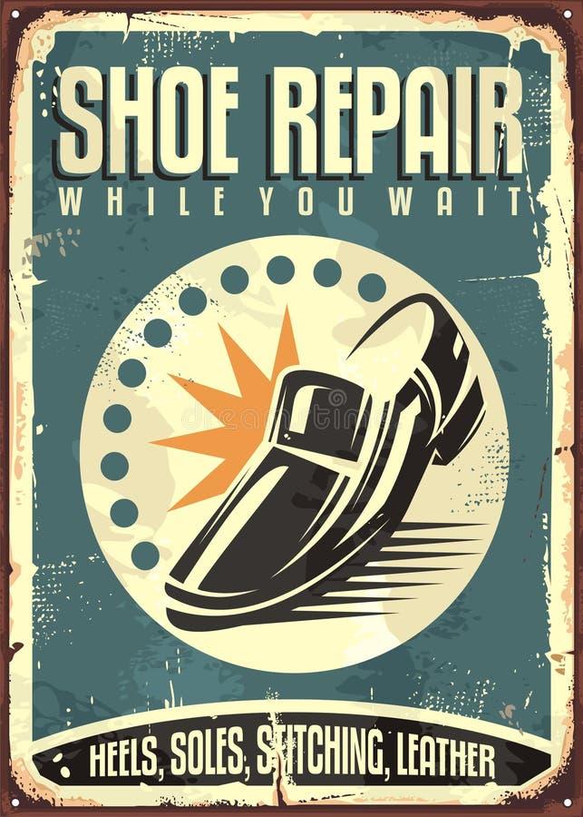Shoes repair shop vintage sign royalty free illustration