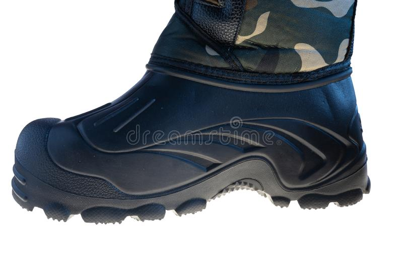 Shoes with rubber sole camouflage color on white background royalty free stock photography