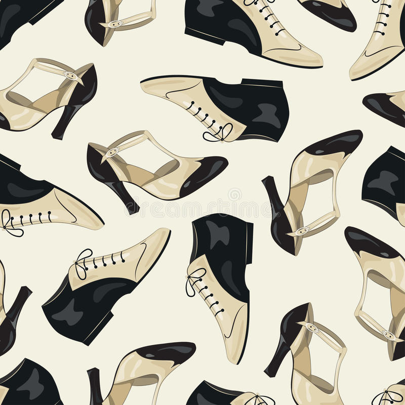 Shoes seamless pattern. Seamless pattern of elegant women's and man's shoes. Argentine tango, dance shoes stock illustration