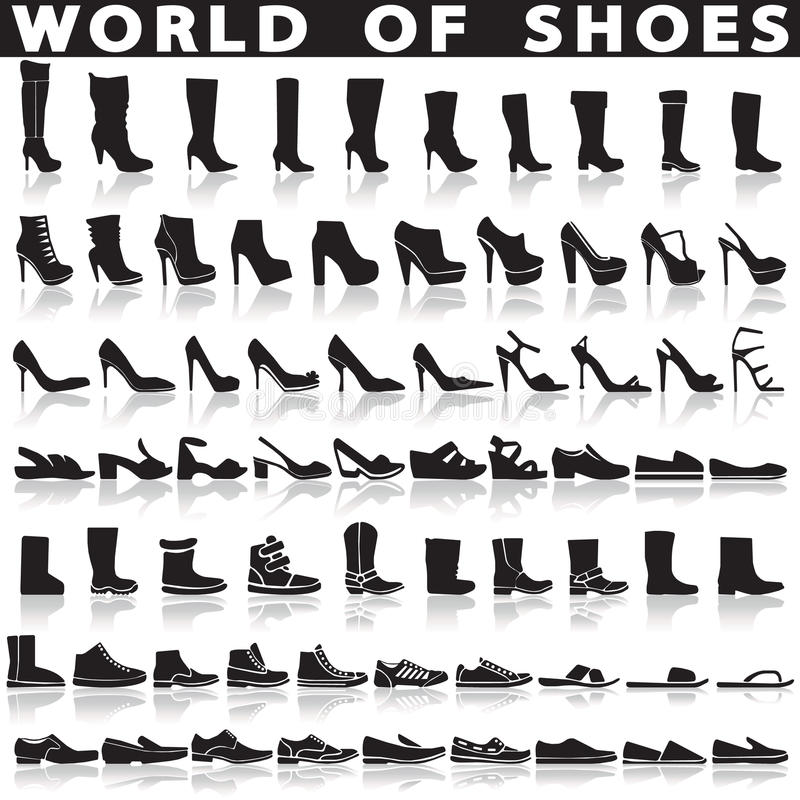 Shoes set of vector flat icons. stock illustration