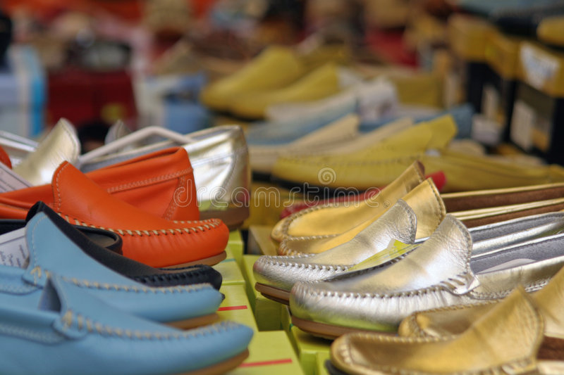 Shoes in a shop stock photo