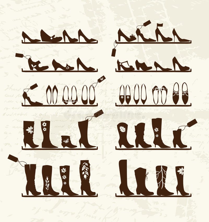 Download Shoes Shop, Boots On Shelves, Sketch Royalty Free Stock Image - Image: 23943566