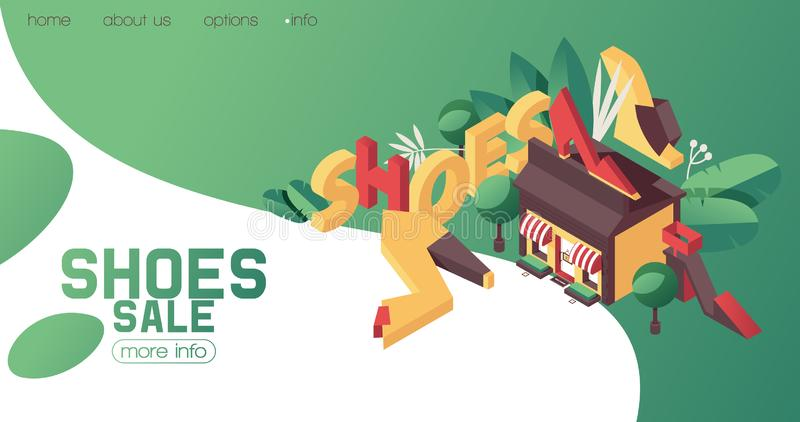 Shoes shop or boutique banner, can be used as booklet or ad template. bright gradients, greenery and flat women heels is isometric royalty free illustration