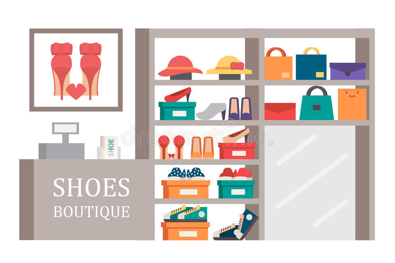 Shoes shop footwear store. Vector shopping illustration. Shoes shop footwear store. Shoe and bag showcase.Vector shopping illustration stock illustration