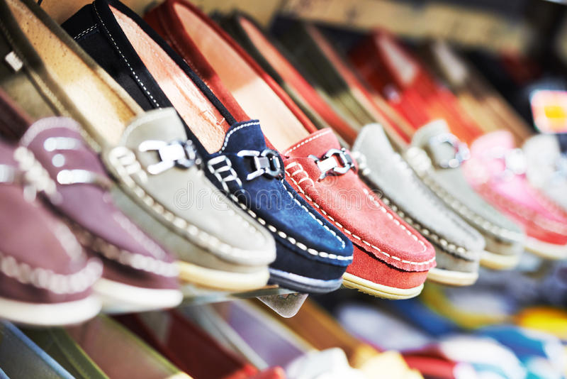 Shoes in a shop royalty free stock photos