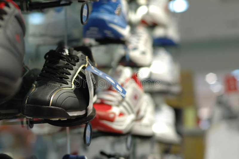 Shoes in shopping mall stock image