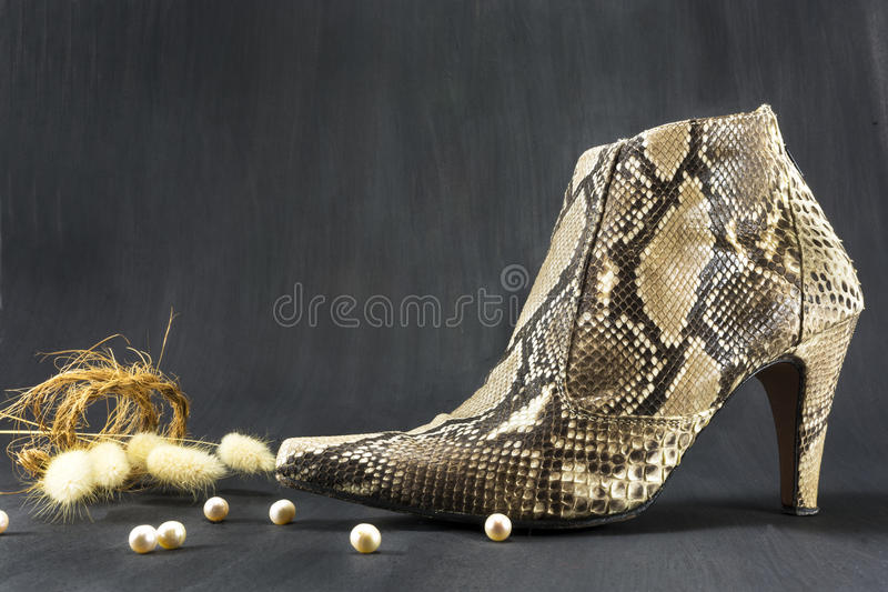 Shoes snakeskin with pearls and spikes royalty free stock photography