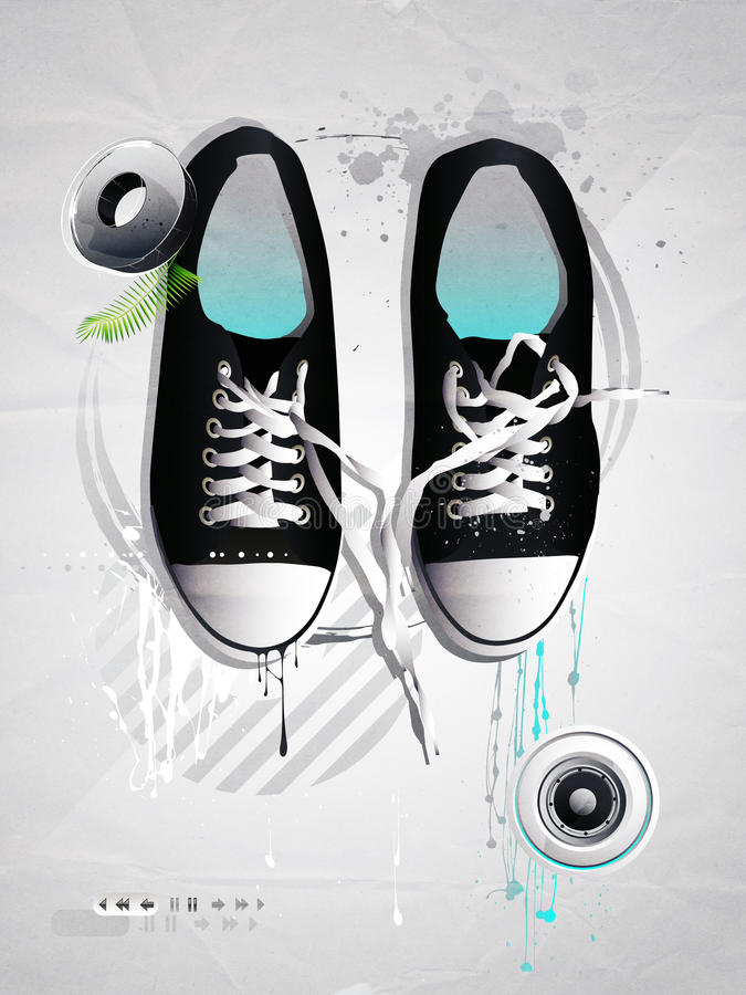 Download Shoes Sneakers Vector On A Gray Backgroun Stock Illustration - Image: 13488465