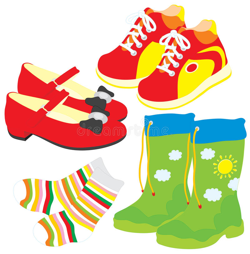 Shoes, socks, gumboots, boots vector illustration