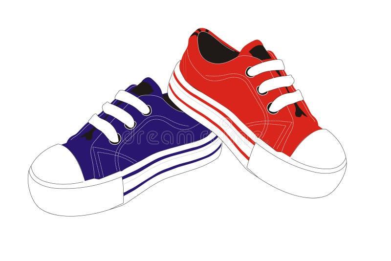 shoes sportvektorn royaltyfri illustrationer