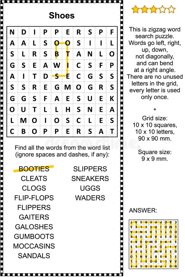 Shoes word search puzzle. Shoes themed zigzag word search puzzle suitable both for kids and adults. Answer included stock illustration