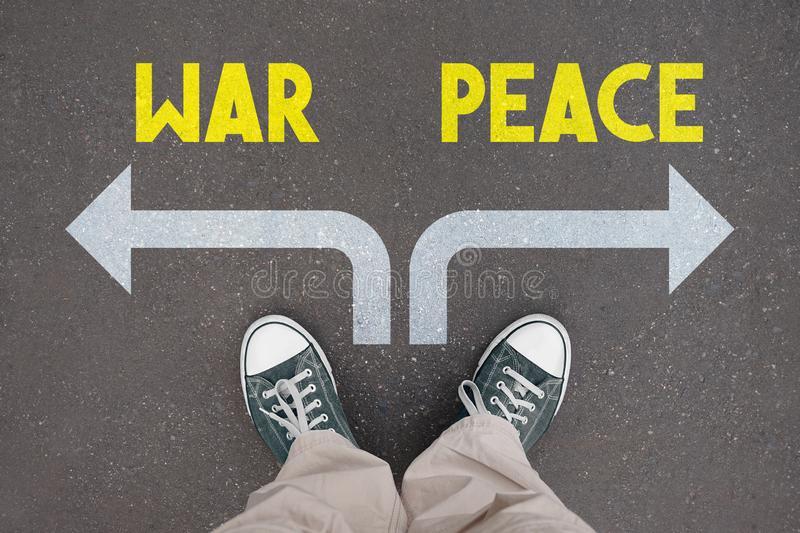Shoes, trainers - war, peace stock illustration